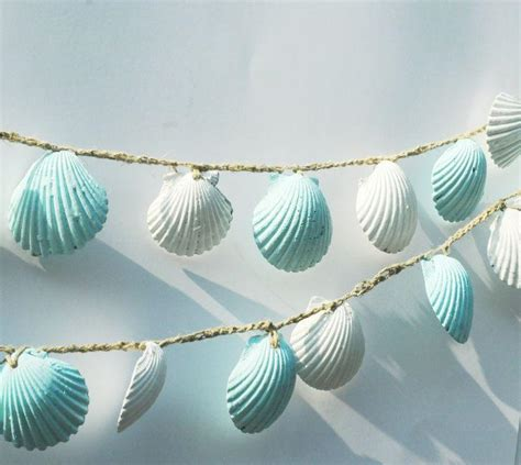 beach themed decor seashell garland lt blue seashell