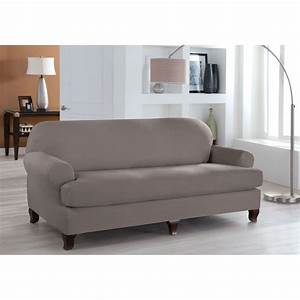 Stretch fit grey two piece t cushion sofa slipcover for 2 piece sectional sofa slipcover
