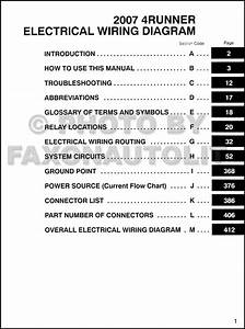 2007 Toyota 4runner Wiring Diagram Manual Original