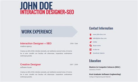 Free Resume Web Page by 20 Best Free Html Resume Templates To Trendytheme