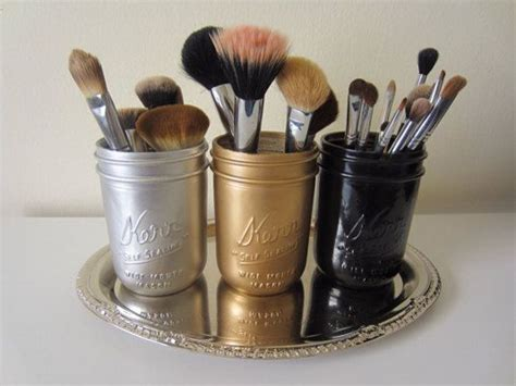 Gold Silver Black Mason Jar Makeup Brush Holder Office