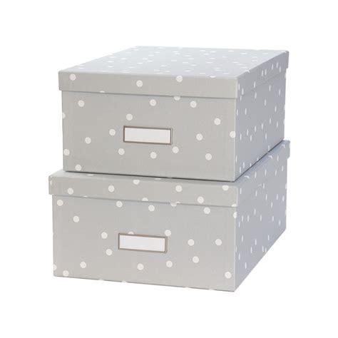 boite de rangement photos bo 238 te en gris 224 pois blancs rangement courrier