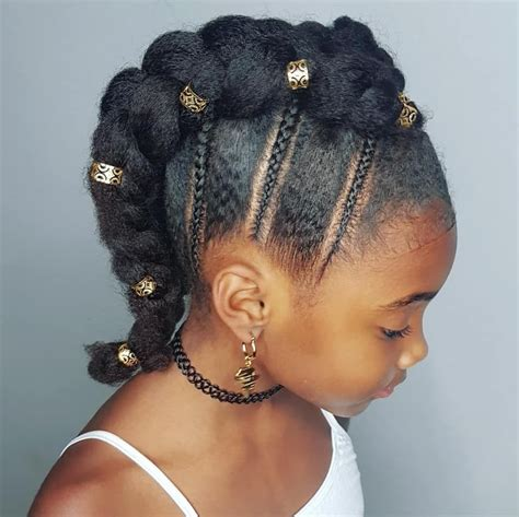 braided mohawk hairstyle for kinky haired girls natural