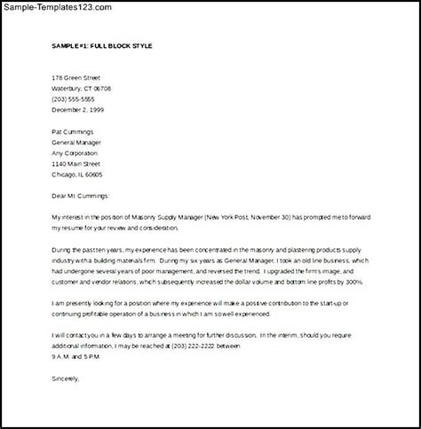 general manager cover letter word template free