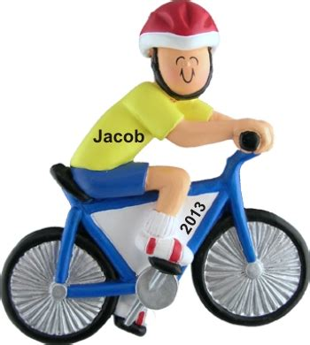 Bicycle Male  Hand Personalized Christmas Ornaments By