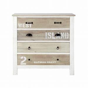 Commode en bois blanche L 90 cm Noirmoutier Maisons du Monde