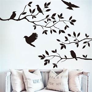 Black bird tree branch monster wall paper decals removable