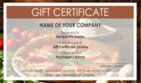 Pizza Gift Certificate Template Costumepartyrun