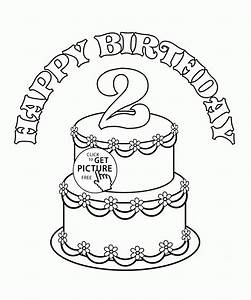2nd Birthday Cake Coloring Page For Kids Holiday Coloring