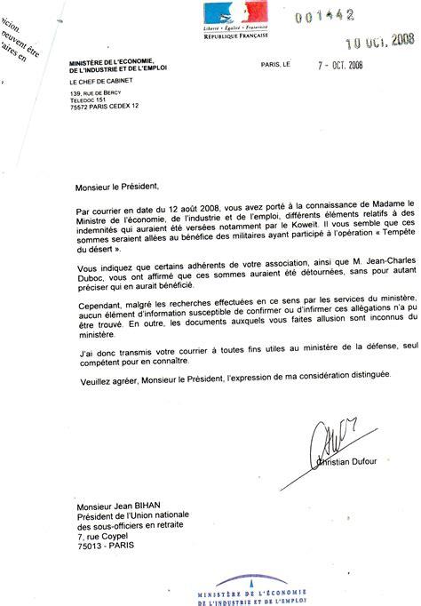 bureau du premier ministre modele lettre militaire nouvelle affectation document