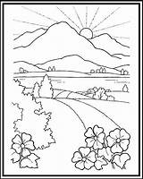Coloring Scenery Pages Mountain Sunset Landscape Road Mountains Sheet Printable Beach Drawing Adults Children Nature Wonderful Drawings Snow Colouring Adult sketch template