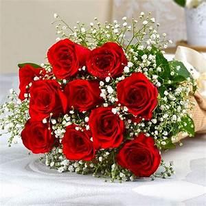 Buy Ten Romantic Red Roses Bouquet Online at Best Price in