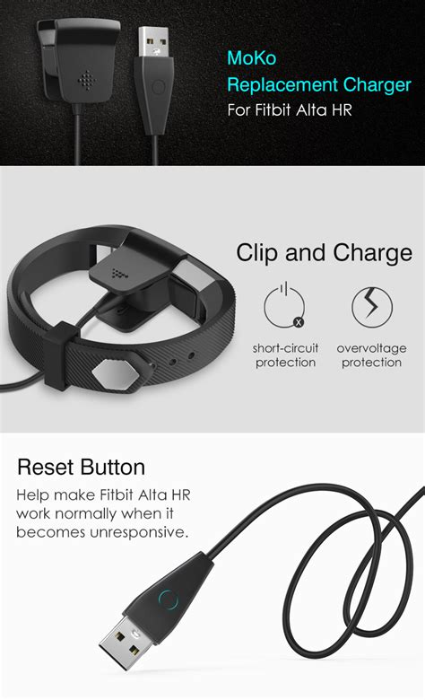 fitbit alta hr charger with reset button moko