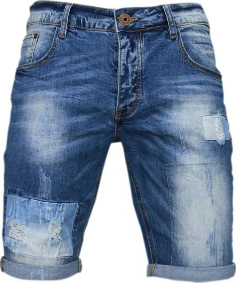 enos korte broeken heren slim fit denim square borduur blauw style italy