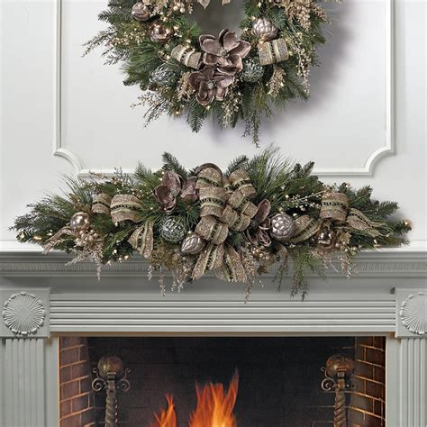 mantle swags vintage pre decorated mantel swag traditional wreaths and garlands by