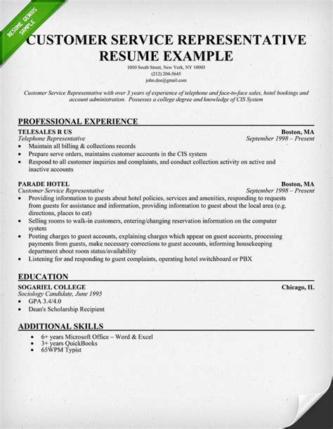 Representative Resume Free by Resume Exle Customer Service Representative Resume