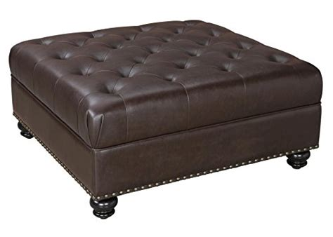 Tufted Square Ottoman by Dorel Living Hastings Tufted Faux Leather Square Ottoman