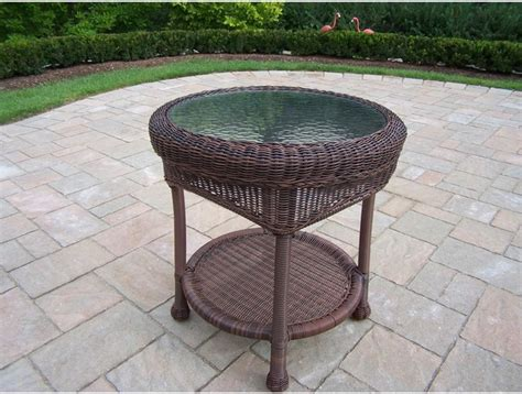 resin outdoor side table oakland living resin wicker patio end table with glass top