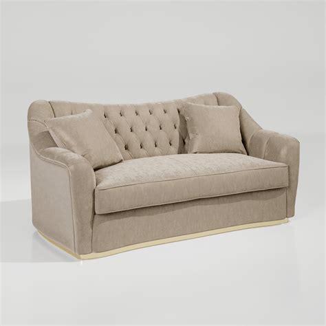 Large Designer Art Deco Style Button Upholstered Sofa