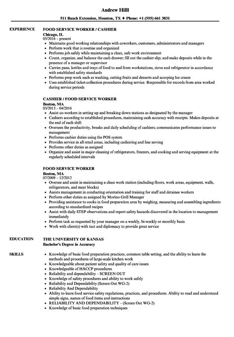 Food Service Resume by Food Service Worker Resume Sles Velvet