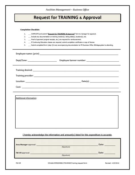 Training Course Request Form Template by Training Request Form Facilities Management Unc Charlotte