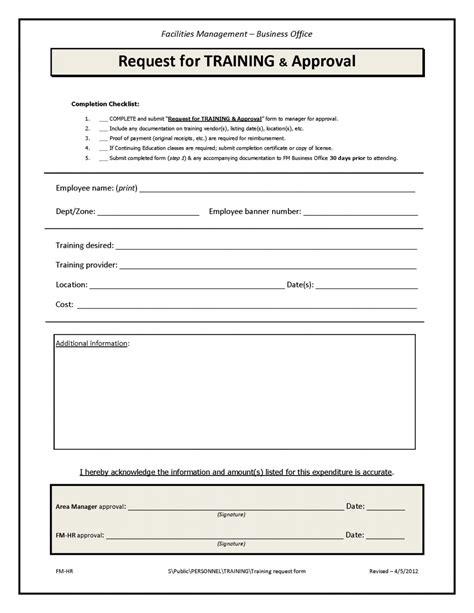 training course request form template training request form facilities management unc charlotte