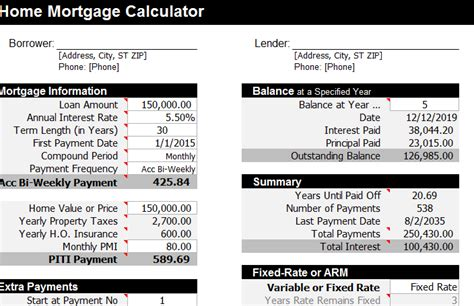 mortgage calculator template  excel templates