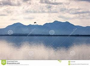 Mountain, Lake, With, Storm, Clouds, Stock, Photo