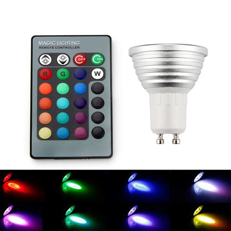 led color changing lights with remote 4x gu10 3w 16 color changing rgb led light bulb dimmable