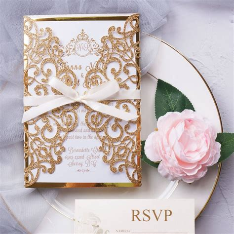 Royal gold elegant wedding invitation with rsvp cards