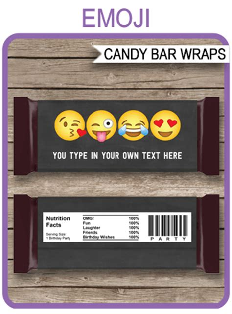 emoji hershey candy bar wrappers emoji theme personalized