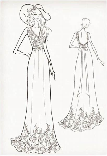 Sketch Sketches Drawing Lace Bodice Open Dresses