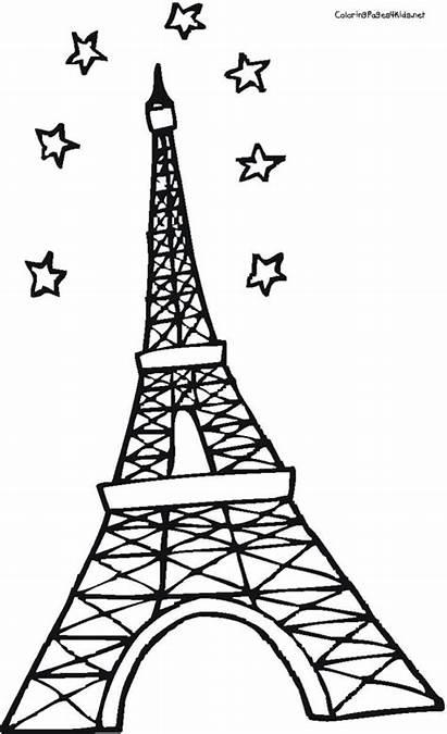 Eiffel Tower Coloring Pages Paris France Para