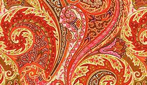 FABRIC ON SALE Orange Linen Paisley Upholstery Fabric by