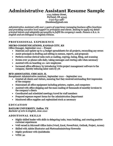 Resume Sles For Administrative Assistant by Administrative Assistant Resume Exle Write Yours Today
