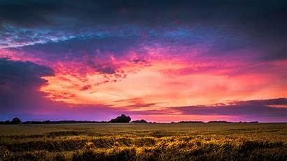 Sky Pink Background Clouds Dark Farm Cloudy