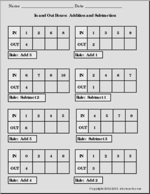 in and out boxes addition subtraction printable