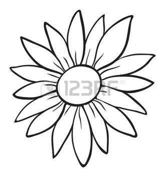 simple flower outline stock  images royalty