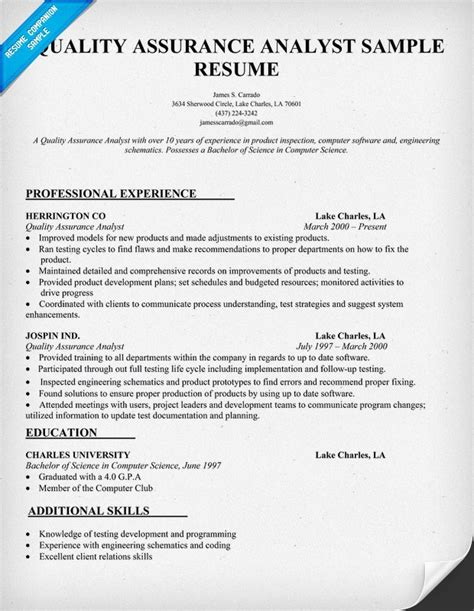 resume for quality assurance analyst cover letter sle