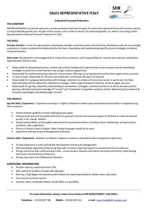 Sales Rep Responsibilities Resume by Sales Representative Italy Description