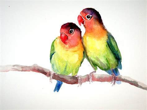 lovebirds original watercolor painting  objects