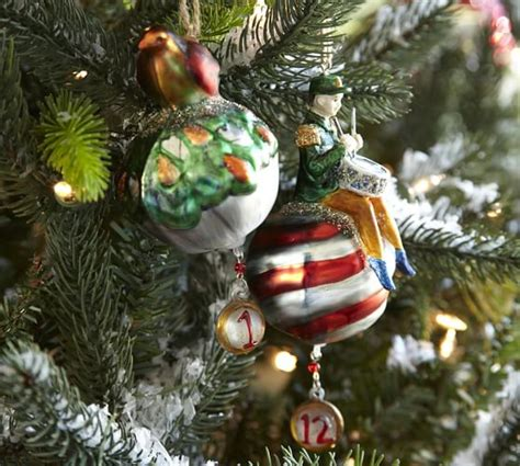 12 days of christmas decorations twelve days of ornaments set of 12 pottery barn