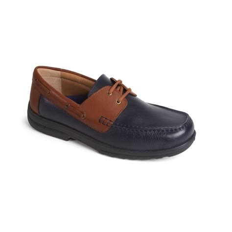 Boat Shoes Extra Wide by Padders Devon Mens Leather Extra Wide Plus Boat Shoes Navy