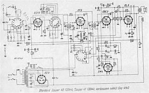 standard radio szuper40 2044 With magic eye circuit