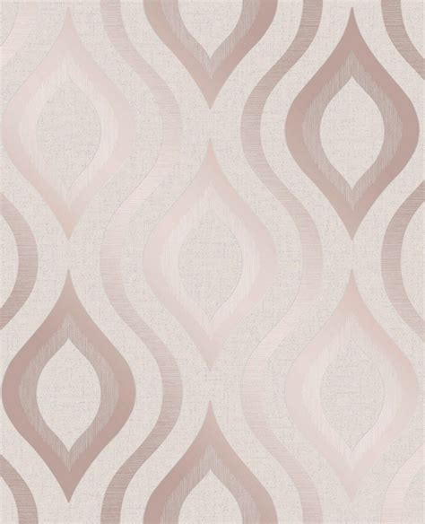 fine decor quartz geo rose gold  white wallpaper fd