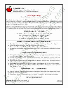 Teacher s Aide or Assistant Resume Sample or CV Example