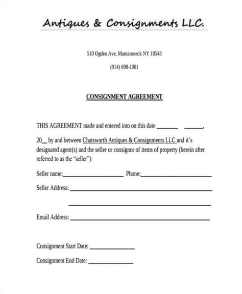 consignment agreement forms  ms word