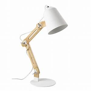 Lampe Bureau Bois : lampe de bureau en bois et m tal blanc h 64 cm sweden maisons du monde ~ Teatrodelosmanantiales.com Idées de Décoration