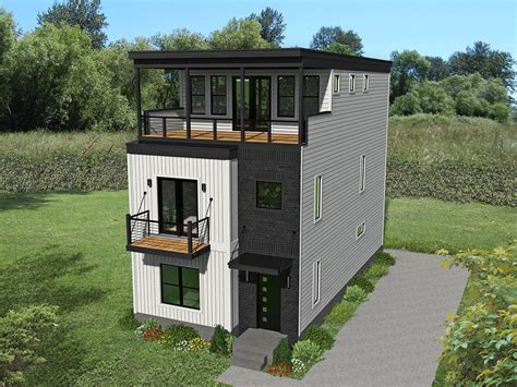 modern contemporary  story home plan  ideal  narrow lot vr architectural