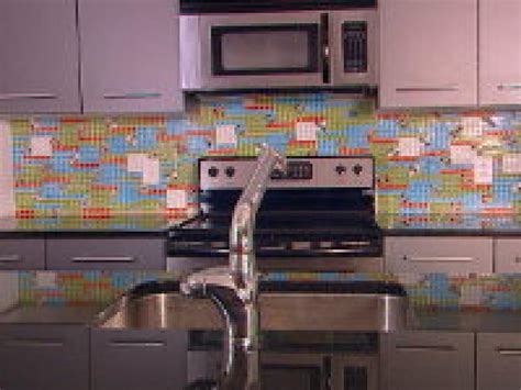 create  colorful glass tile backsplash hgtv